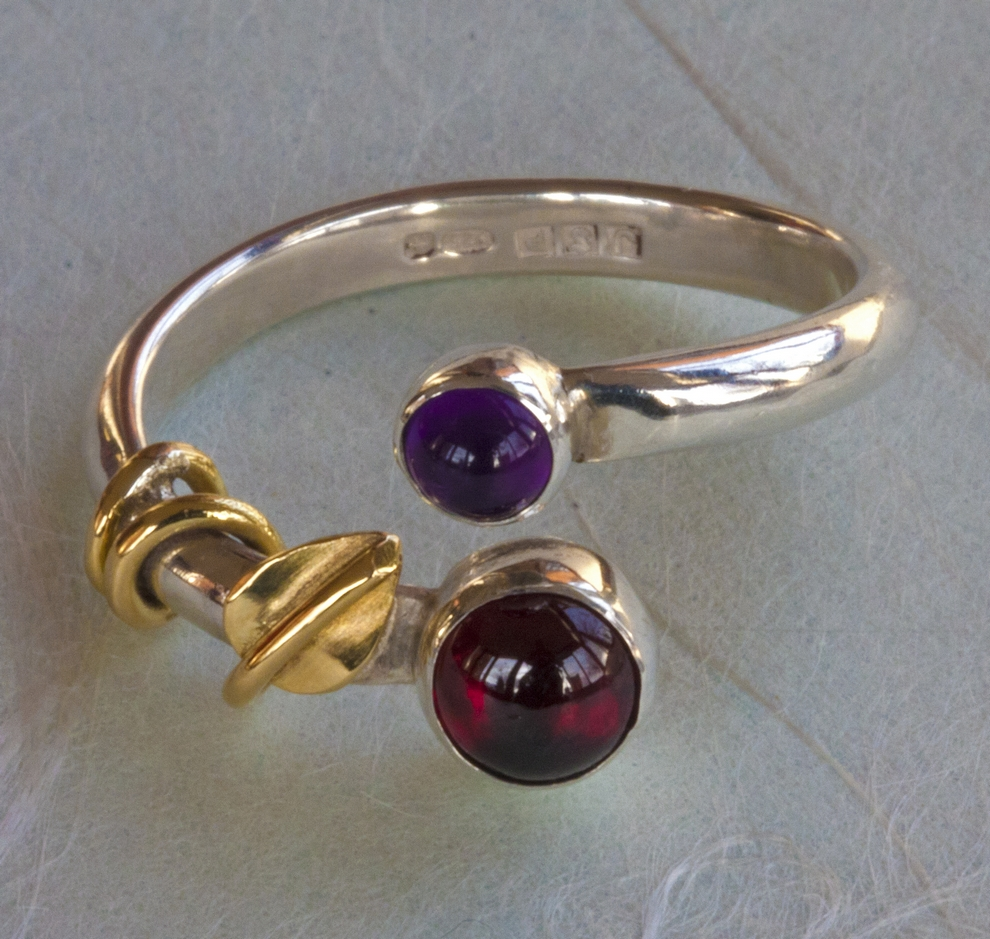 Garnet and Amethyst ring by Judith Price